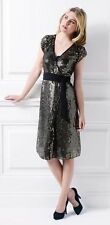 Brand New HOLLY WILLOUGHBY Dress Size 8/S/36 Black-Gold Sequins With Tags