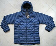 New Jack Wolfskin Argo Supreme 800-Fill Down Poseidon Blue Hooded Jacket Size L