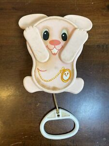 Vintage 1980 TOMY Peek-A-Boo Pink Bunny Pull String Musical CribToy Lullaby Wks!