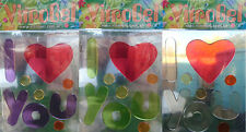 "Vitrogel ""I Love You"" Reusable Decorative Gel Window Clings Stickers 3 Colours"