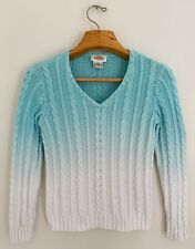 TALBOTS Women Sweater Sz M Blue Ombre V-Neck Cable Knit Long Sleeve