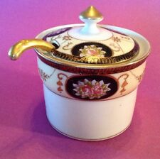 Noritake Jam Jar With Ladle - Hand Painted White And Black - Gold Moriage  Japan