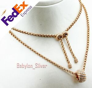 925 Sterling Silver Rose Gold Turkish Lady's Luxury Necklace 65 cm adjustable