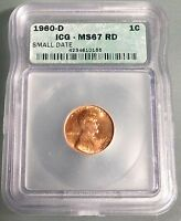 1960-D 1c small date ICG MS67 RD **RARE ABSOLUTE GEM**