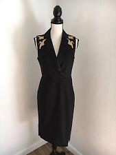 Altuzarra for Target Tailored Tuxedo Dress Crane Bird Embroidery Black Sz 6