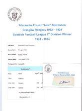 ALEX STEVENSON GLASGOW RANGERS 1932-1934 RARE ORIGINAL HAND SIGNED CUTTING