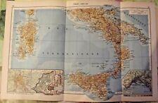 1962 Carte & Image Italie partie Sud Naples Cité Vatican Sardaigne Volcan Etna