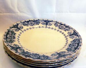 """6 x Antique T.R & Co T.Rathbone & Co Osborne Blue & White 10 1/4"""" (26cm) Plates"""