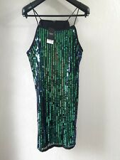 Next Ladies Dress UK 18 Green Sequinned Party Cocktail Holiday Cruise Strap BNWT
