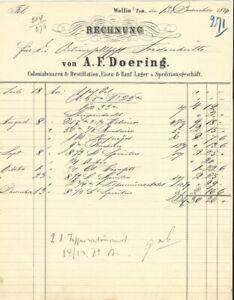 COLONIALWAAREN & DESTILLATION A. F. Doering, Wollin: Rechnung von 1874