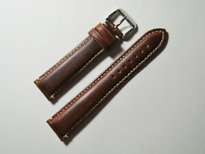 22mm Hadley Roma Chestnut Contrast Stitched Oil-Tan Leather Mens Band  MS885