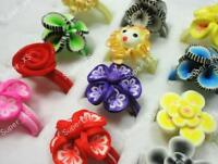 80pcs Fashion Children Polymer Clay Rings MIx Color Wholesale Lots Jewelry BFP