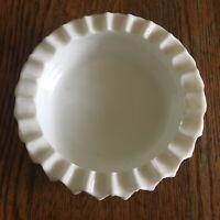Vtg Fenton ashtray milk glass hobnail trinket dish white scalloped edges 5 inch