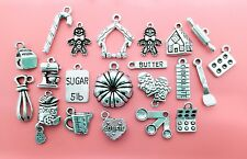 Christmas Baking Charm Collection 21 Silver Holiday Cooking Charms Pendants