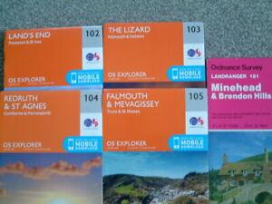 Ordnance Survey Maps x 5, Cornwall, OS102, 103, 104, 105, As New 2015, OS181,