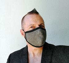 Taupe Tweed Face Mask Covering - Washable - Handmade in USA - LARGE - Black Trim