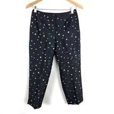 Talbots Capri Pants Embroidered Polka Dot Silk Cropped Women Size 4 Petite