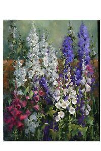 Linda Glover Gooch Foxglove Choir Garden Flowers Oil Painting on Linen 28x22