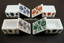 2.5x1.5 Inch Marble Ring Box with Colorful Stones Accessories Box Set of 4 Piece