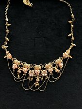 Michal Negrin Necklace Handmade In Israel With Crystals Golden Touch Collection