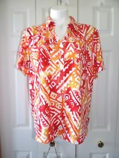 Womens New Cathy Daniels Size XL Orange Red White Short Sleeve top shirt