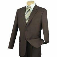 VINCI Men's Brown Striped 2 Button Classic Fit Business Suit NEW