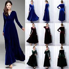 2018 Women Plus Size Velvet Long Sleeve Maxi Dress Evening Party Vintage Dress