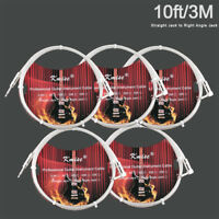 Guitar Cable Instrument Cord Straight to Right Angle10ft for Electric Guitar 5Pc