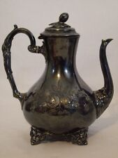 Antique Victorian Sheffield Chased Silver Plate Tea Pot Coffee Acorn