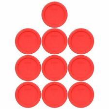 New Pyrex 7202-PC 1 Cup Round Plastic Red Storage Cover Lids 10PK for Glass Bowl