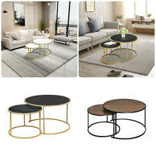 Modern Round Coffee Tea Table Sofa Bed Side Living Room Marble Vein Occasional