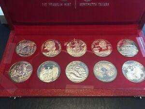 Republique Tunisienne 10 pc Silver 1 Dinar Tunisia Coin Set in Box 1969