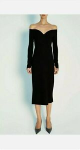 Zara Black Wool Sweetheart Neckline Off Shoulder Dress XS Limited Edition