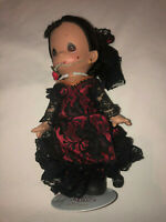 """Precious Moments Dolls of The World Nina Spain 9"""" Doll w Stand Red Lace Dress"""