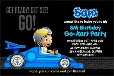 Personalised Birthday Invitations Boys Racing Car Go Kart Party x 5