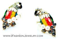 3D Elegant Colorful Parrot Cute Bird Pearl Crystal Stud Earrings Fashion Jewelry