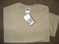 SMALL RH Trap/Skeet Pad KHAKI/TAN 50/50 Dryblend Shooting T-Shirt by Gildan