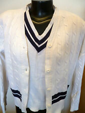 Liz Sport Nautical Sweater Set White Cable Knit Cotton w/ Navy Bands M