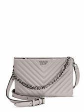 Victoria's Secret Pebbled V Quilt Crossbody Bag Tote Purse Gray Faux Leather