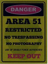 """AREA 51 ALIEN METAL WALL PLAQUE / SIGN 8"""" X 6"""" WITH FIXING PADS"""