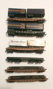 Athearn HO Train Lot 6 Ready To Run Rolling Stock Flat Cars and Six 20' Trailers