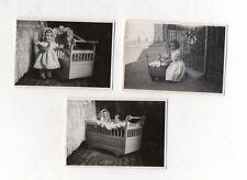 3 PHOTOS ANCIENNES Snapshot Enfant Poupée Poupon Landeau Poussette Vers 1930