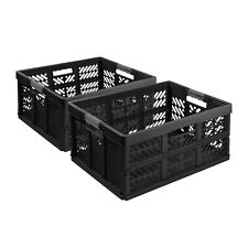 2X  Stabile Profi Klappbox 45L 54x37x28 Einkaufskiste klappbar Griffe Schwarz