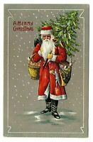 Long Robe~SANTA CLAUS~Walking in Snow with Tree~Antique~CHRISTMAS Postcard-p904