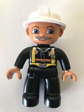 *NEW* Lego DUPLO Male FIREMAN Black Legs WHITE Helmet BLACK Top GRAY MOUSTACHE