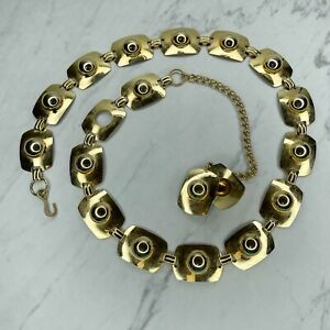 Gold Tone Dome Studded Concho Belly Body Chain Link Belt Size Large L XL