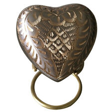 Elegance Platinum Small Heart Keepsake Urn for Ashes with Stand & Velvet Box