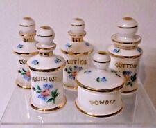 Antique 5 pc. Hand Painted Cased Glass Dresser / Vanity Jar Set w/ Flowers etc