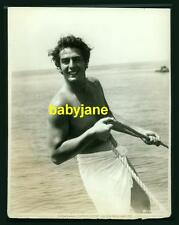 VICTOR MATURE VINTAGE 8X10 PHOTO SEMI NUDE IN A TOWEL 1940 BEEFCAKE LINEN BACKED