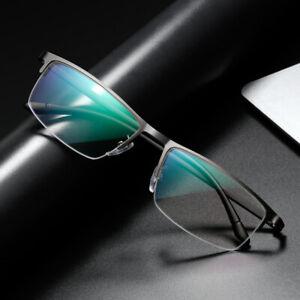 Half-rim Metal Square Reading Glasses Anti-blue Business Magnifier +1.0 to +4,0